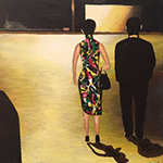 painting of a couple walking down a street at night, inspired by the cinema of Wong Kar Wai